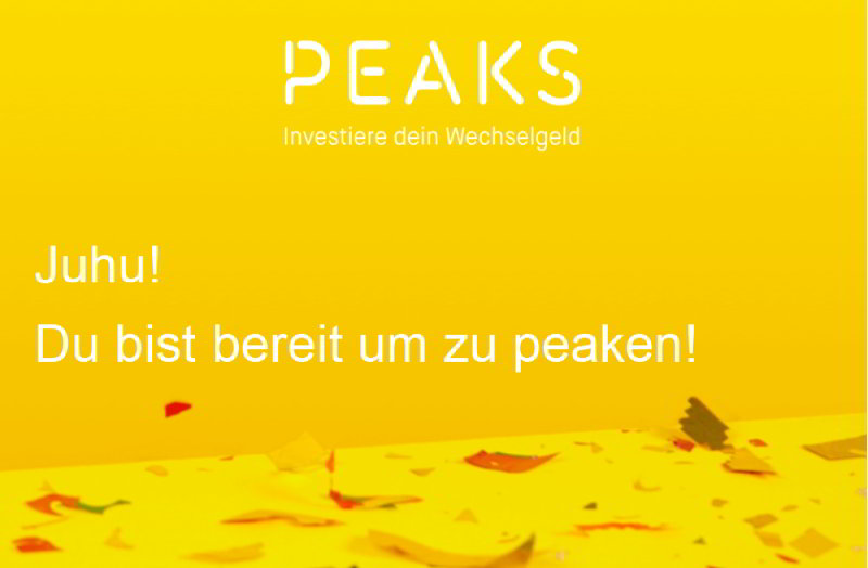 Bereit zum peaken - aus der Bestätigungsmail von Peaks
