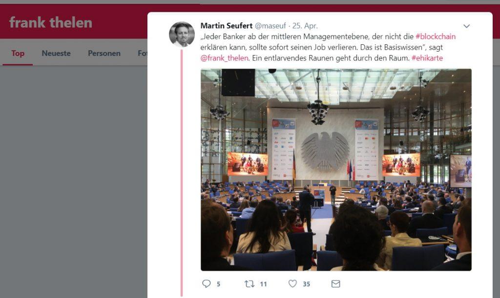 Twitter-Zitat von Frank Thelen zur Blockchain
