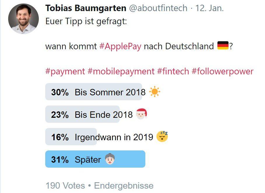 Umfrage ApplePay Start in Deutschland