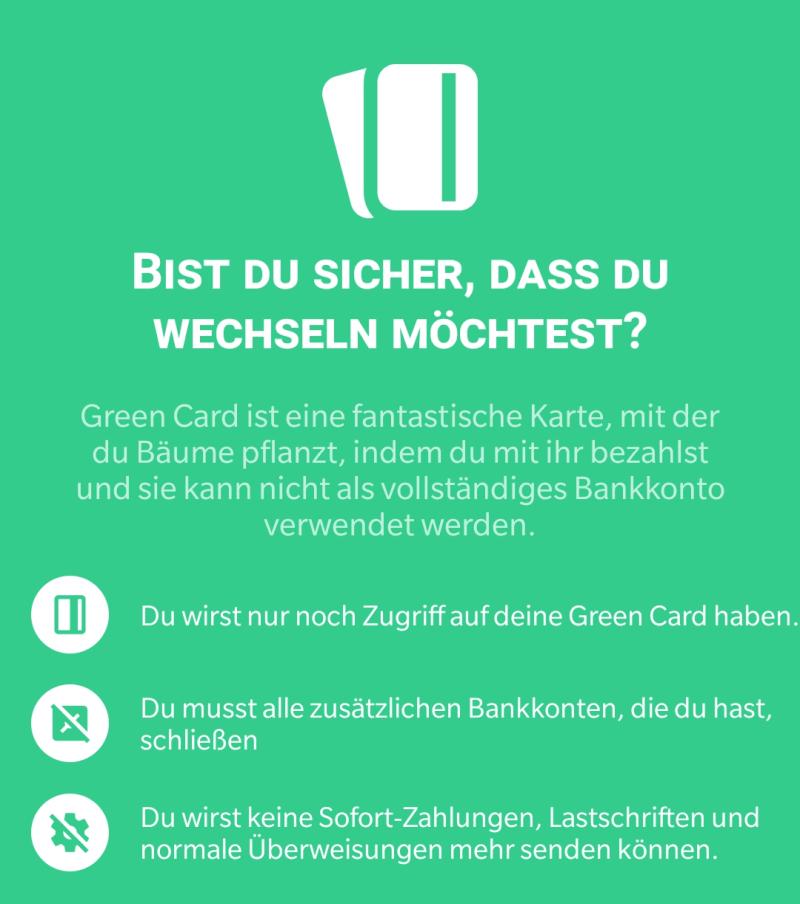 Hinweis zur Green Card in der bunq-App